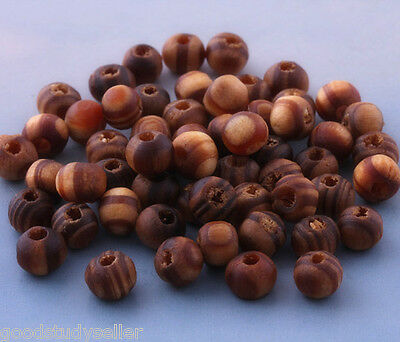 300 Pcs beautiful wood Bracelet necklace loose spacer beads findings charms 6mm