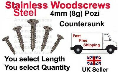 4mm, 8g, A2 STAINLESS STEEL WOOD SCREWS POZI COUNTERSUNK FULL THREAD