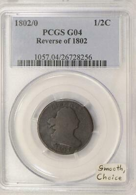 1802/0 Reverse of 1802  Half Cent PCGS G-04; Smooth, Choice!