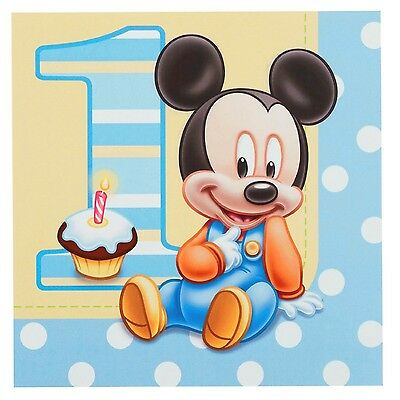 Mickey Mouse 1St Birthday Party Supplies Large Napkins Serviettes (Pack Of 16)