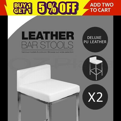 2x PU Leather Bar stool Modern Kitchen Barstool Chair Steel Legs White 9076A