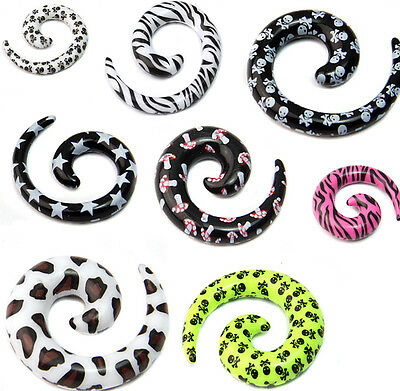 Acrylic Spiral Snail Taper Flesh Tunnel Ear Stretcher Expander