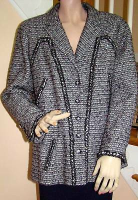 CHANEL 06A Black/White Tweed Sequins Jacket 48