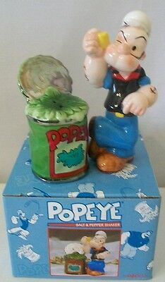 2000 Popeye With Can Of Spinach Salt & Pepper Shakers Enesco New In Box