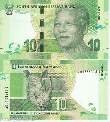 SOUTH AFRICA 10 Rand Banknote World Paper Money Currency Pick p133a Mandela Bill