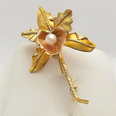 Vintage 18K Rose & Yellow Gold 3D Seed Pearl Orchid Flower Brooch Pin 4gr