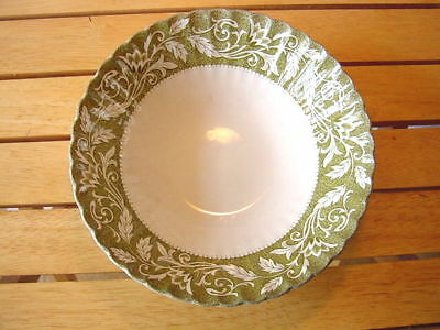 Meakin England ironstone hand engraved serving bowl green Lucerne
