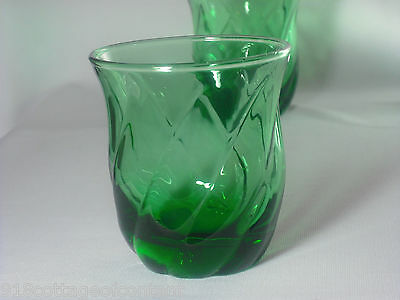 ANCHOR HOCKING FOREST GREEN SWIRL OLD FASHIONED GLASSES 7   vintage  EXC