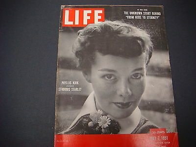Life Magazine , May 7, 1951 , Phylis Kirk Studious Starlet , Great Ads/Graphics