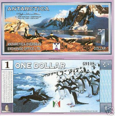 ANTARCTICA 1 Dollar Bankote World Money FUN Currency BILL Penguins Scenic view $