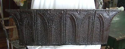 ANTIQUE Roof Tin Tile Shelf 3 FT Metal Black & Rust Gothic