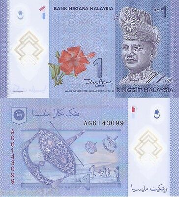 MALAYSIA 1 Ringgit Banknote World Money UNC Currency POLYMER Pick p-51 Rahman