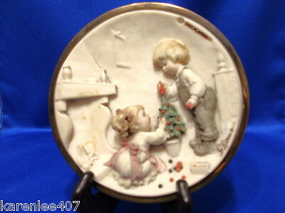 Capodimonte Wall Plaque Boy & Girl Christmas Tree  Bas Relief  Exceptional!