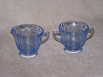 Indiana Glass Recollection / Blue Madrid Creamer & Sugar