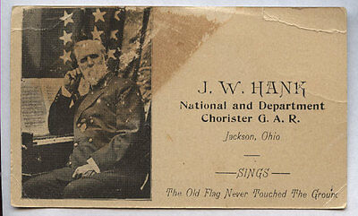 GAR CALLING CARD NATIONAL & DEPT. CHORISTER JACKSON, OHIO * Boys in Blue