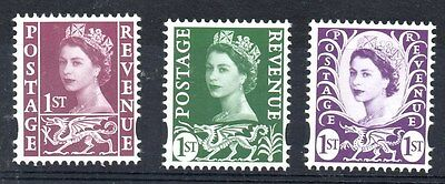 Wales. 2008. W122-W124. Set x 3 ex-booklet values. Fine unmounted mint.