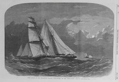OLD PRINT SLAVE SHIP CAPTURE BY HMS ALECTO c1858 AFRICA ANTIQUE ENGRAVING
