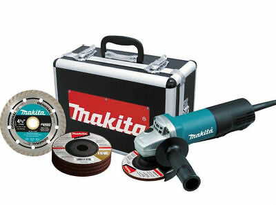 "Makita 9557PBX1 4-1/2"" Angle Grinder w/ Case, Diamond Blade and Grinding Wheels"