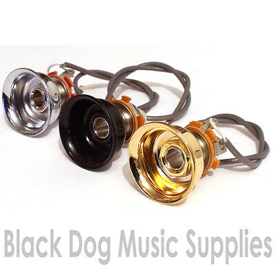 Wired Telecaster electric guitar jack socket and plate in chrome, Black, or gold