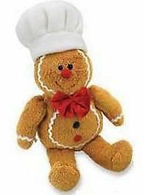 "9"" Brand New Soft Christmas Gingerbread Man Chef Cook Baker Dickie Bow Teddy Toy"