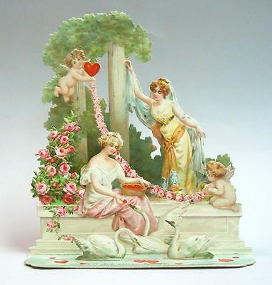 "Elegant 8"" 3 Tier Fold-down Valentine - Goddesses and Cherubs Swans & Hearts"