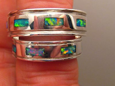 His and Hers Bride Groom Matching Set Solid Opal  Wedding Band Ring sterling S