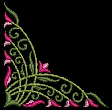 Exotic Floral Corners Machine Embroidery Design CD 4x4 for Brother, Janome etc
