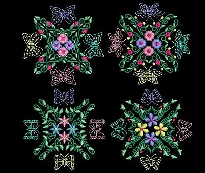 Exotic Floral Butterflies Machine Embroidery Design CD 4x4 for Brother, Janome