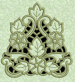 Exotic Floral Cutwork #1 Machine Embroidery Design CD 4x4 for Brother, Janome