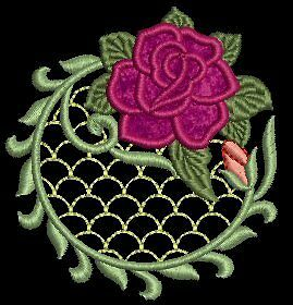 Lacy Rose Applique Lace Machine Embroidery Designs CD 4x4 for Brother, Janome