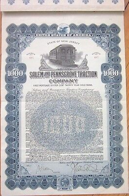 1914 Trolley Gold Bond Certificate: Salem & Pennsgrove Traction Co. - New Jersey