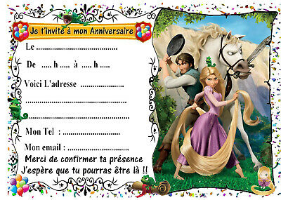 Carte Invitation Anniversaire Princesse Disney Raiponce Belle