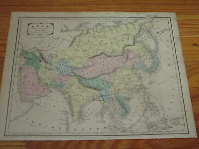 1855 Cornell's Map of Asia, Original Large Folio Size Hand Colored Map