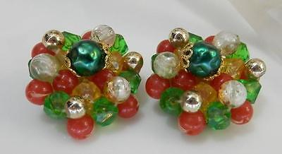 Sooo Pretty Vintage 1940s Signed Germany Lucite Cluster Earrings 3649f