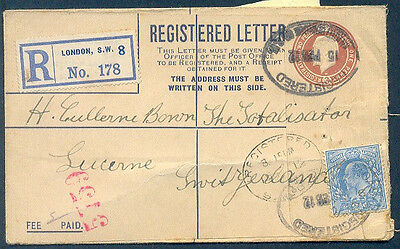 GREAT BRITAIN TO SWITZERLAND 1912 REGISTERED Postal Stationery+Additional Stamp