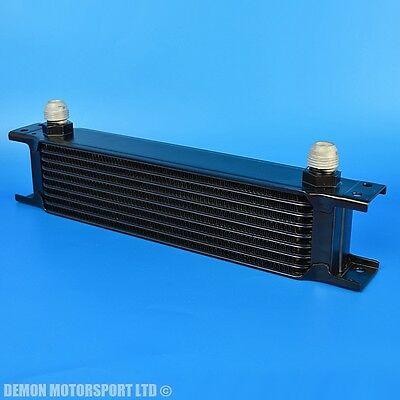 9 Row Oil Cooler Black AN10 -10 10AN Fittings 235mm Wide Aluminium Universal