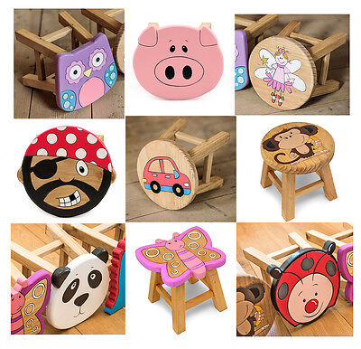 Childrens Wooden Stool Solid Pine Character Seat Step in Box Kids