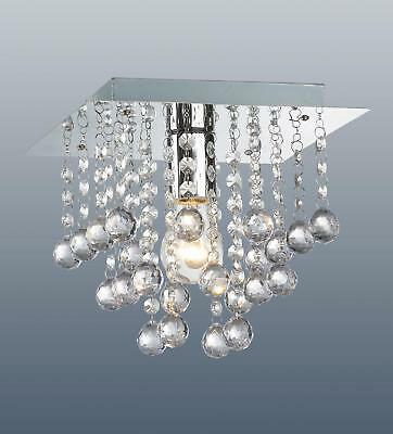 Square Chrome Ceiling Light Flush Fitting Crystal Droplet Chandelier 1 Bulb