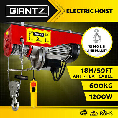 GIANTZ Electric Hoist Winch 300/600KG Rope Lift Tool Remote Chain Lifting Cable
