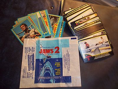 """Vintage 1978 O-Pee-Chee """"Jaws 2"""" Trading Card Set 1-59 W/Stickers & Wrapper"""