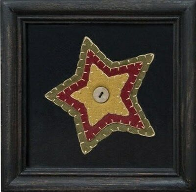 "Felt Multicolor Penny Star Blanket Stitching Framed Stitchery Wall Decor 7"" Sq"
