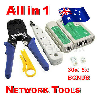 OZ Best Network LAN RJ45 CAT5E RJ11 PC Cable Tester Kit Crimp Punch Tool