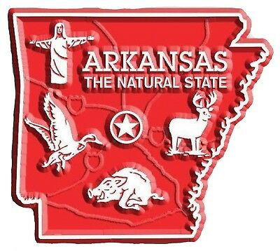 Arkansas the Natural State Map Fridge Magnet