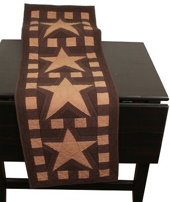 """Primitive Blazing Star Quilted Table Runner ~ Tea Dye 16"""" X 48"""" Cotton Fabric"""