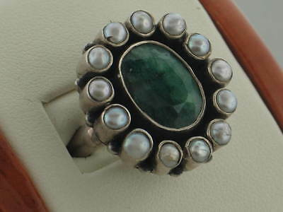 Turkmen 2013 Collection - Emerald & Pearl .925 Sterling Silver Ring Size 7.5