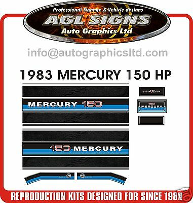 1983  MERCURY 150 BLACK MAX OUTBOARD DECAL SET reproduction 175 200 225