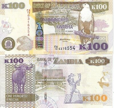 ZAMBIA 100 Kwacha Banknote World Money Currency Africa Note Eagle Bird p54 BILL