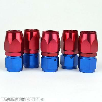AN8 -8 8AN Straight Hose Fitting (5 Pack) JIC For Braided Hose Red / Blue New