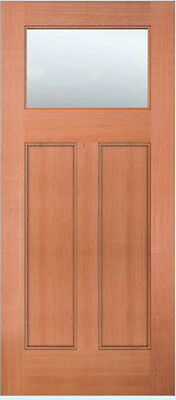 Exterior Entry Mahogany Craftsman Flat Panel Solid Stain Grade 1 Lite Wood Doors