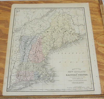 1870 Mitchell Antique COLOR Map of NEW ENGLAND/Hand-Colored